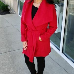 Suzy Shier Red Wrap Fall Coat Size XL